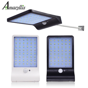 Image 1 - 450Lumens 48 LED Solar Light Three Modes Black White Waterproof Outdoor Garden Wall Fence Lamp With Mounting Pole Or Not