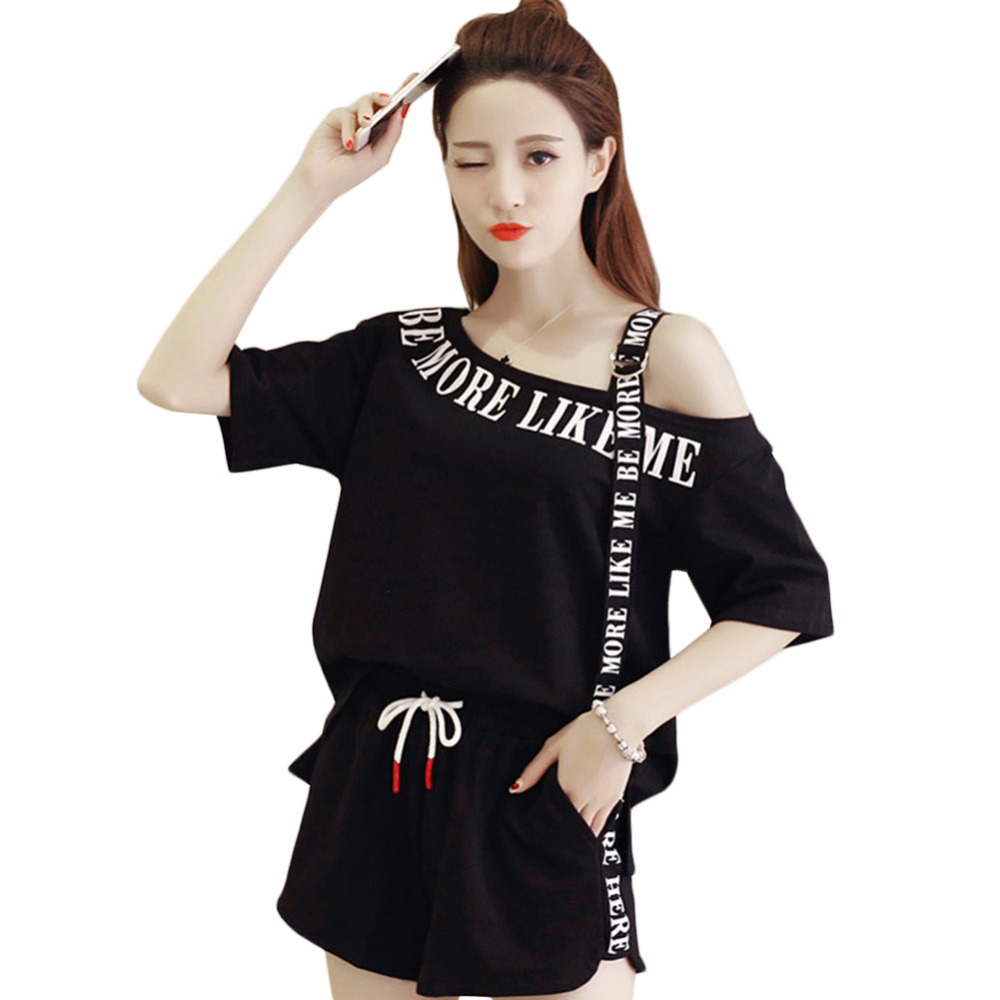 5a8c4cea9ec3 2018 Fashion Loose And Casual Off The Shoulder Top With One Side Shoulder  Stripe Wide Leg Shorts Tie Suits Women Clothes #278702-in Women's Sets from  .