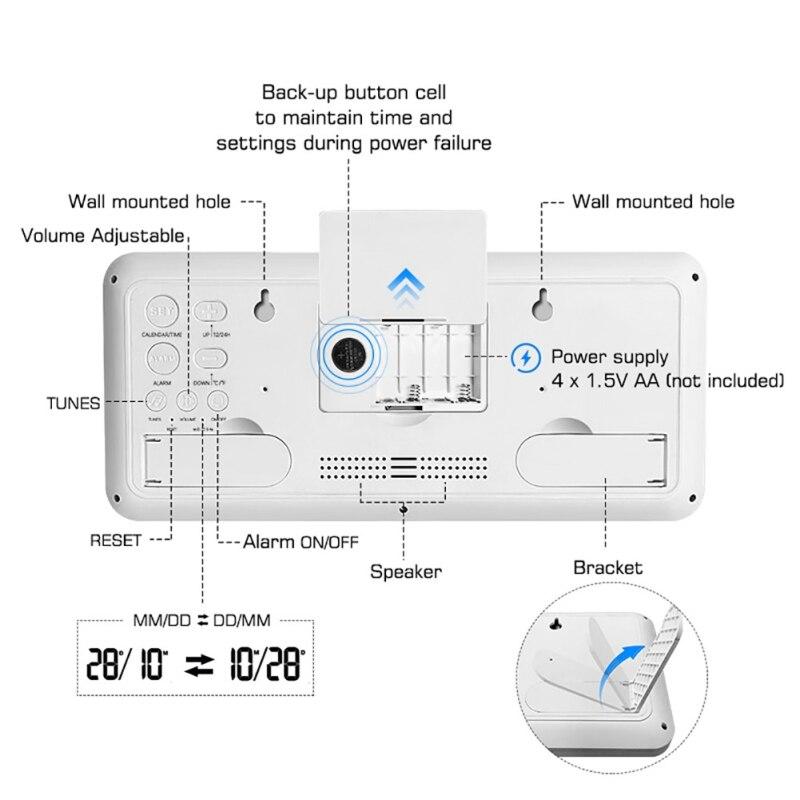 Horloge murale numérique à Volume réglable alimentée par batterie avec 2 réglages d'alarme grande horloge d'affichage à cristaux liquides - 6
