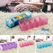 5 Cells Plastic Organizer Storage Box Tie Bra Socks Drawer Cosmetic Divider Tidy Drop Shipping