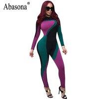 Abasona المرأة حللا وزرة طويلة الأكمام كتلة اللون مثير الحزب نادي بذلة الخريف طباعة نحيل السراويل الطويلة الإناث