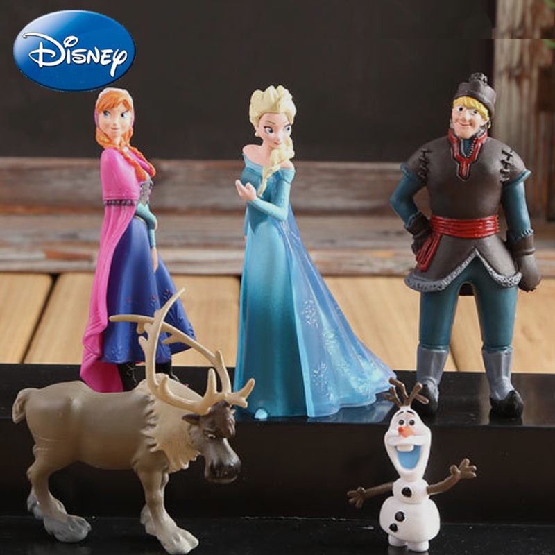 Disney 5pcs/Lot Frozen Princess 5-10cm Anna Elsa Action Figures Kristoff Sven Olaf Pvc Model Dolls Toys Collection Birthday Gift