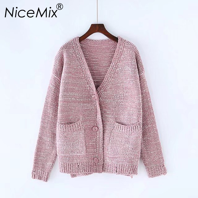 NiceMix 2018 Loose Cardigan Women Casual V-neck Big Pockets Oversized Sweater Coats Cotton Knitted Female Cardigans Pull Femme