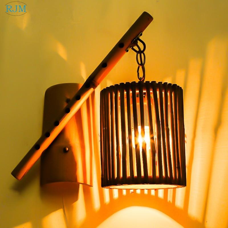 Amerikaanse Land Retro Tuin Bamboe Muur Lampen Vintage Hout Hang Lamp Voor Woonkamer Bed Eetkamer Bar Hotel Veranda Gangpad