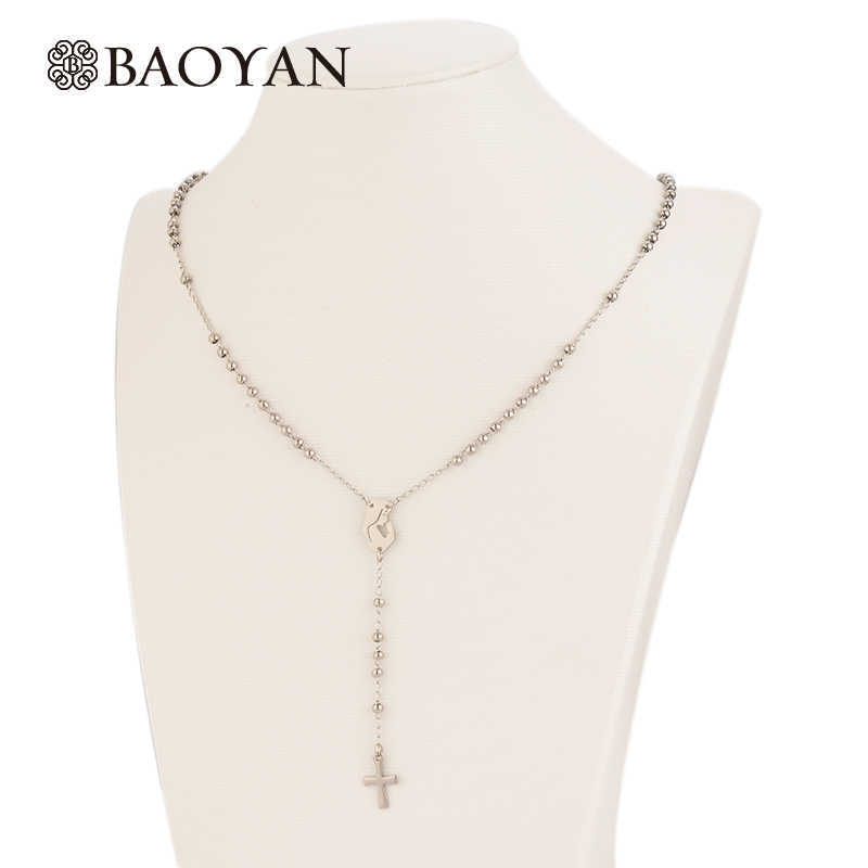 BAOYAN Vintage Stainless Steel Rosary Cross Necklaces Classic Silver Virgin Mary Religious Cross Pendant Necklaces For Women Men