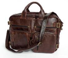 Genuine Leather  man bag Medium long design multi purpose commercial laptop bag men document laptop bag 7026r