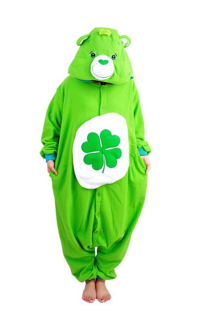 Adult New Animal Costume Pink Care Bear / Gloomy Bear / Green Lucky Bear Cosplay Onesies Woman Man Cute Winter Pajamas Garment