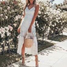 Cuerly 2019 summer bohemian beach lace dress women strap crochet long L5