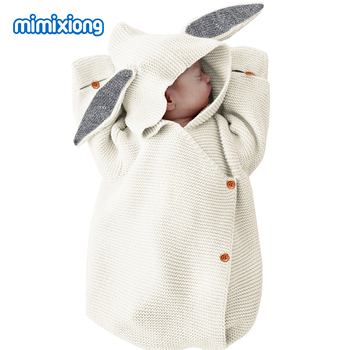 Baby Sleeping Bags Rabbit Autumn Winter Warm Toddle Infant Knitted Stroller Swaddle Wrap Nest Envelopes For Newborn Kids 75*35cm 1