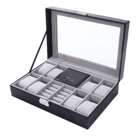 OUTAD 2 In One 8 Grids 3 Mixed Grids Leather Watch Case Storage Organizer Box Luxury