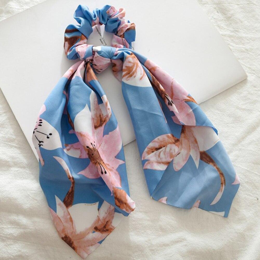 Элегантные резинки для волос с большим цветком и леопардовым принтом; эластичные резинки для волос для женщин и девочек; завязанные длинные резинки; шарф; аксессуары для волос - Цвет: 14
