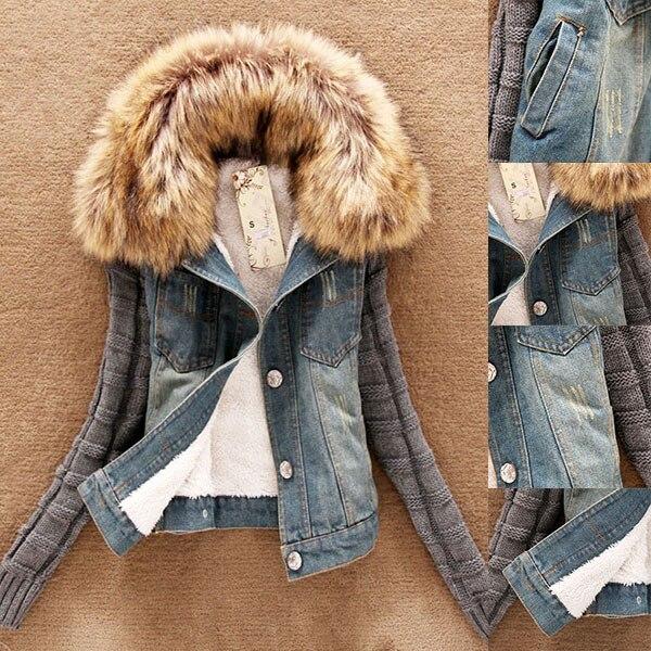 2018 moda buena calidad invierno mujeres Jeans abrigo de lana corta chaqueta de mezclilla delgada Cuello de piel prendas de abrigo Tops