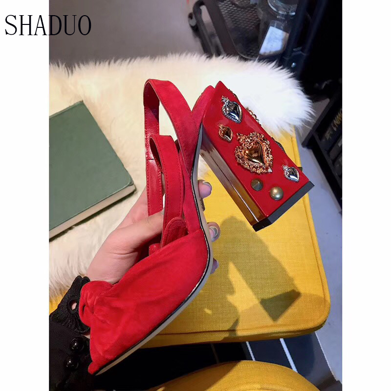 2018 shaduo Luxury women Genuine Leather fish mouth high heel rivet decorative heel single shoe buckle