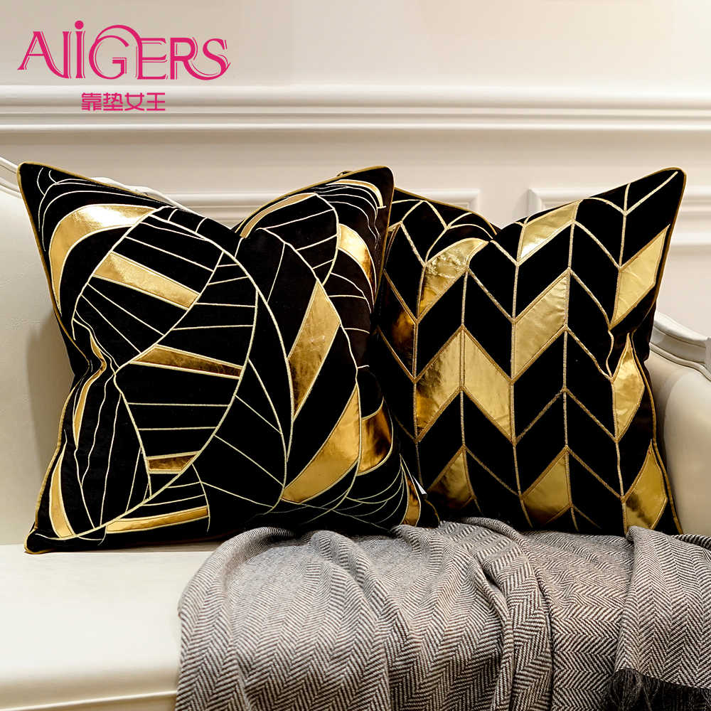 avigers luxury black gold cushion covers decorative pillow cases applique throw pillowcases 45 x 45 50 x 50 cushion for sofa