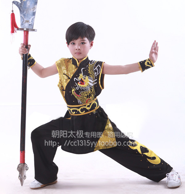 Chinese Kung Fu Changquan Sleeveless Clothes Martial Arts Competitions For Children Dragon Embroidery Tai Chi Clothes