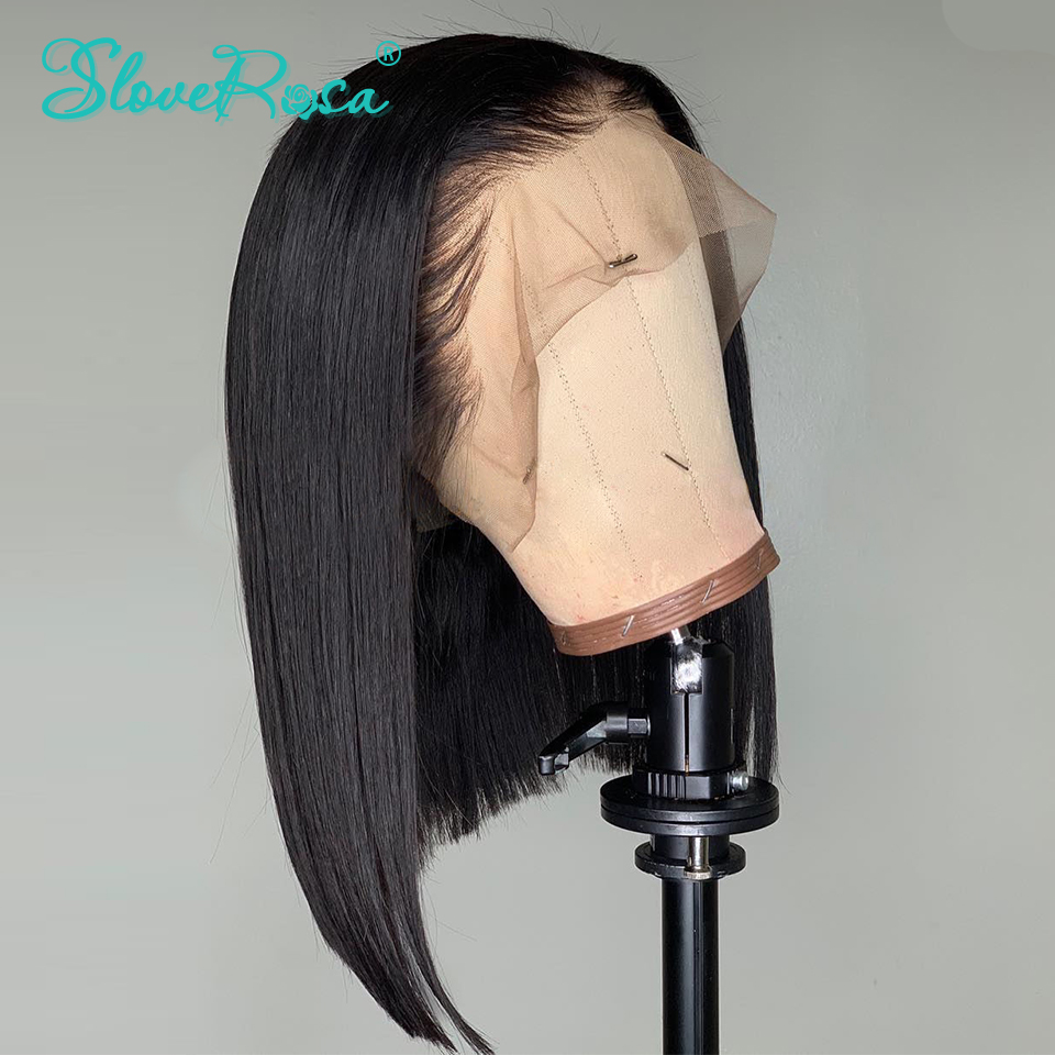 13x4 Lace Short Bob Wigs Peruvian 100% Remy Hair Can Be Dyed Lace Front Human Hair Wigs Pre-Plucked Bleached Knots Slove Rosa 1