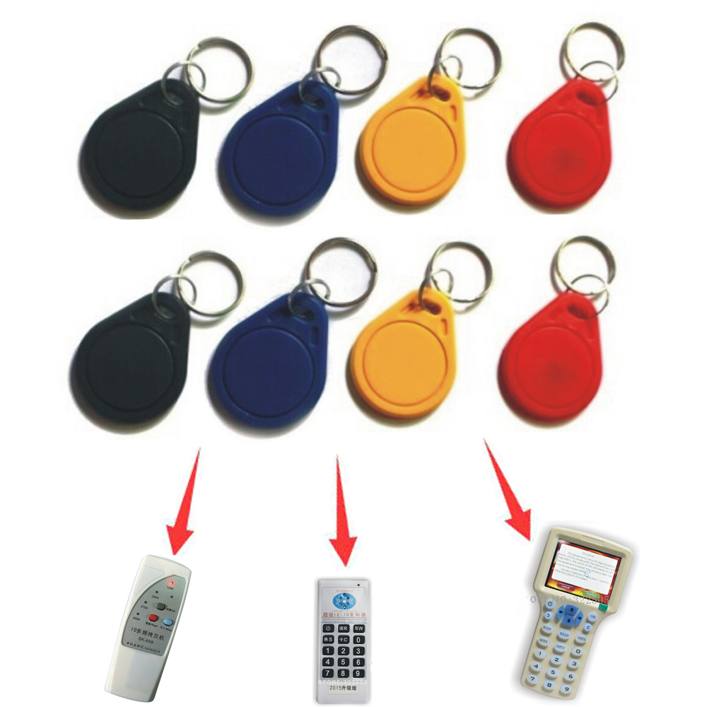 (10 Pcs/lot) 125Khz RFID ReWritable Token Smart Keychains Rewritable Proximity Keyfobs Tags Access Control For RFID Copier