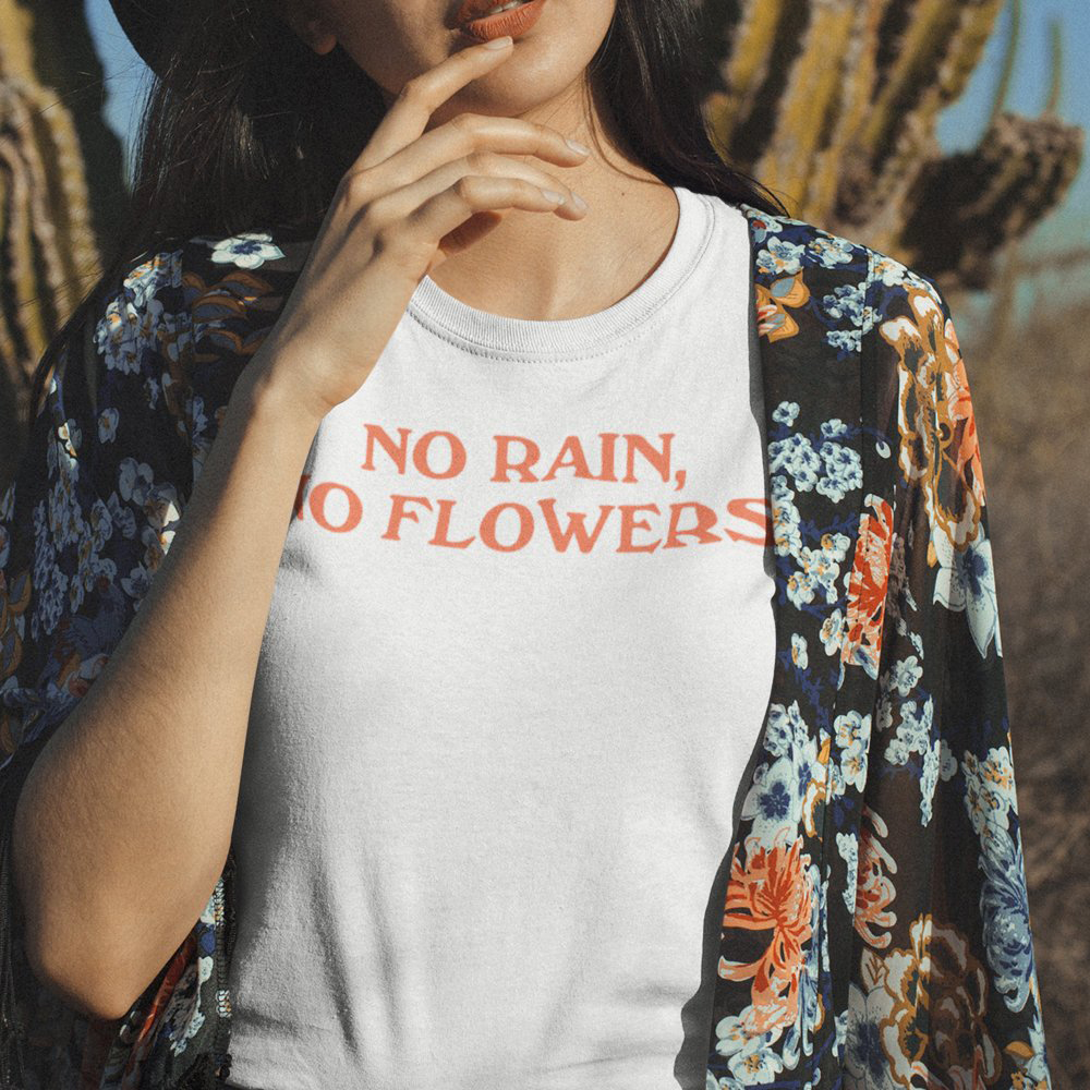 6c0006ad1 No Rain No Flowers Graphic Shirt Vintage Inspired Womens 60s 70s 80s 90s  Style Cute Tees Summer Retro T Shirts