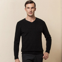 Pure Cashmere Sweater Men Business Winter Gray Sky Blue Khaki Black Pullover Red V Neck Warm Soft High Quality Free Shipping
