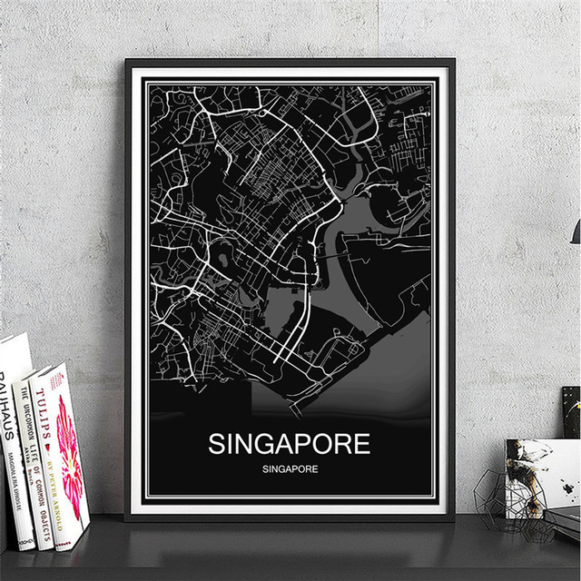Famous SINGAPORE World map Canvas Coated paper oil painting Modern ...
