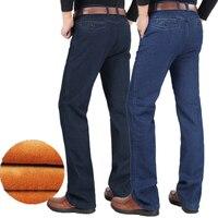 Winter Mens Thick Warm Jeans Classic Fleece Male Denim Pants Cotton Blue Black Long Trousers for Men straight Jeans Size 42