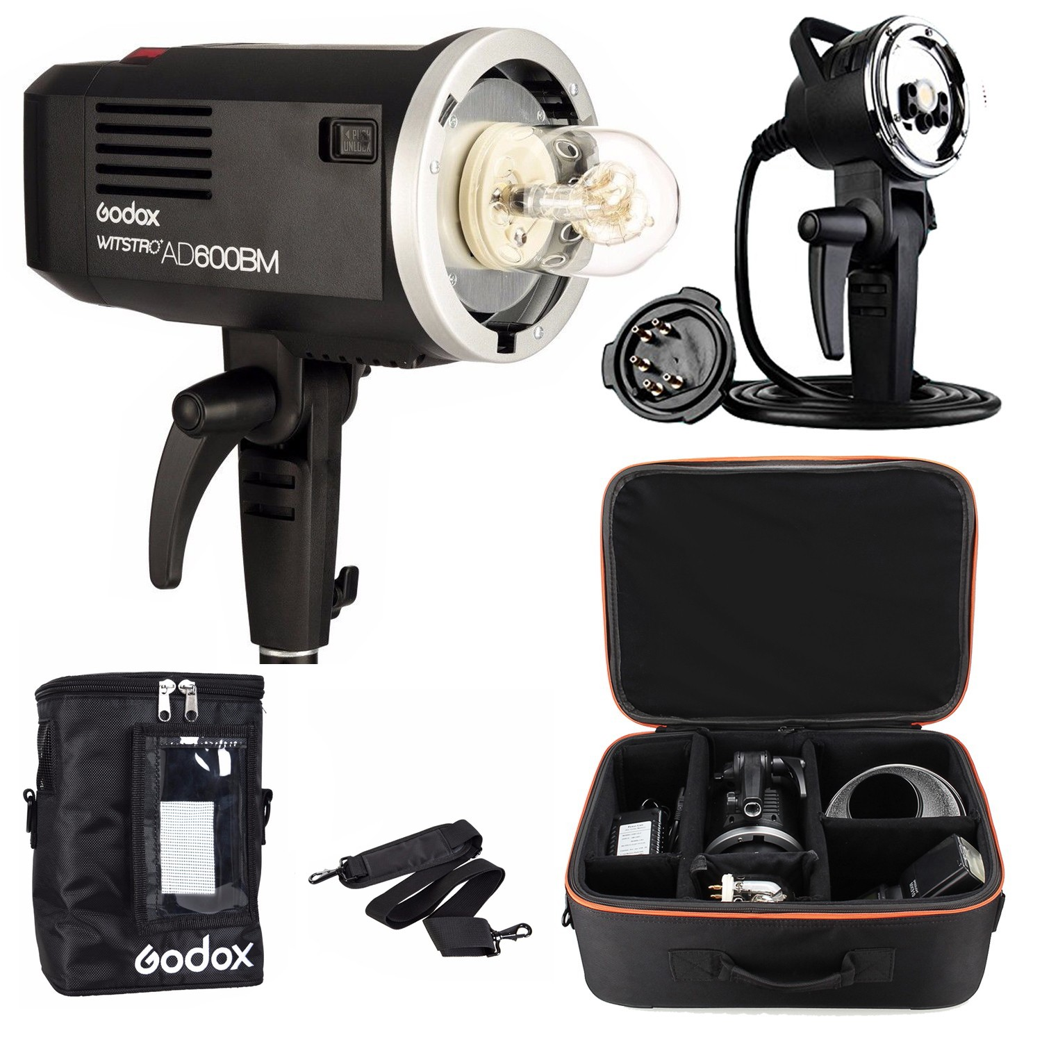 Godox AD600BM 2.4G HSS Studio Flash Strobe Bowens Mount AD-H600 Kits Flashes for Canon Nikon Camera & Bag & Suitcase & Battery godox ad h600b hand held extension head for ad600b ad600bm wireless flash strobe bowens mount