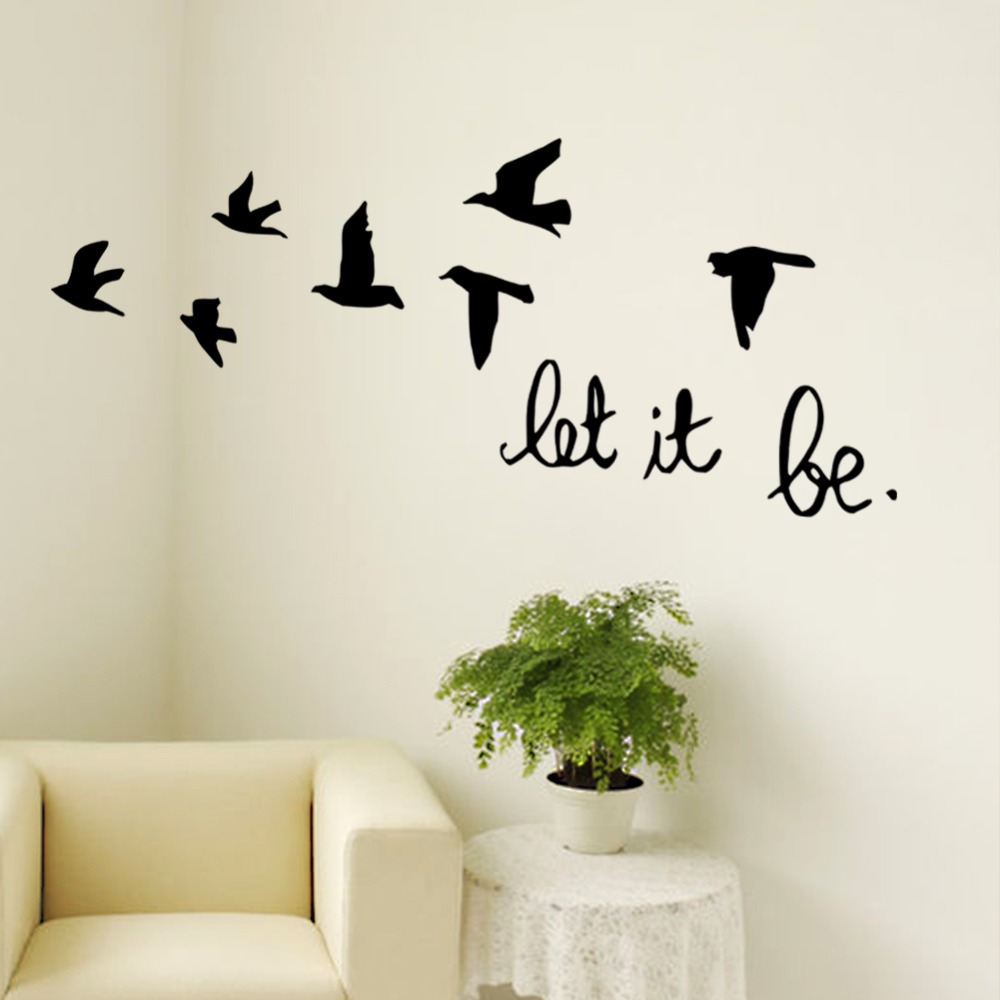 Inspirational wall decal bedroom wall decal bedroom wall vinyl - Let It Be Flying Birds Inspirational Vinyl Wall Decal Sticker Home Decal Bedroom 8547 Stickers