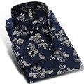 2017 Primavera Mens Leve Camisas de Vestido Estampado Floral manga Longa Gola Quadrada Botão para baixo Conforto Macio Slim Fit Camisa Casual