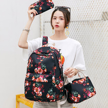 3 pcs Set Girls Flower School Backpack Kids School Bag Nylon Children Bookbag Pencil Bag Bookbag Floral Women Backpacks dispalang cute ballet girls school backpack and lunch pouch set pretty bookbag insulated cooler bag for children pencil case kid