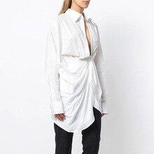 TWOTWINSTYLE Ruched Shirt Women Lace Up Long Sleeve Irregular White Blouse Large Size 2018 Spring Female Sexy Fashion Clothing