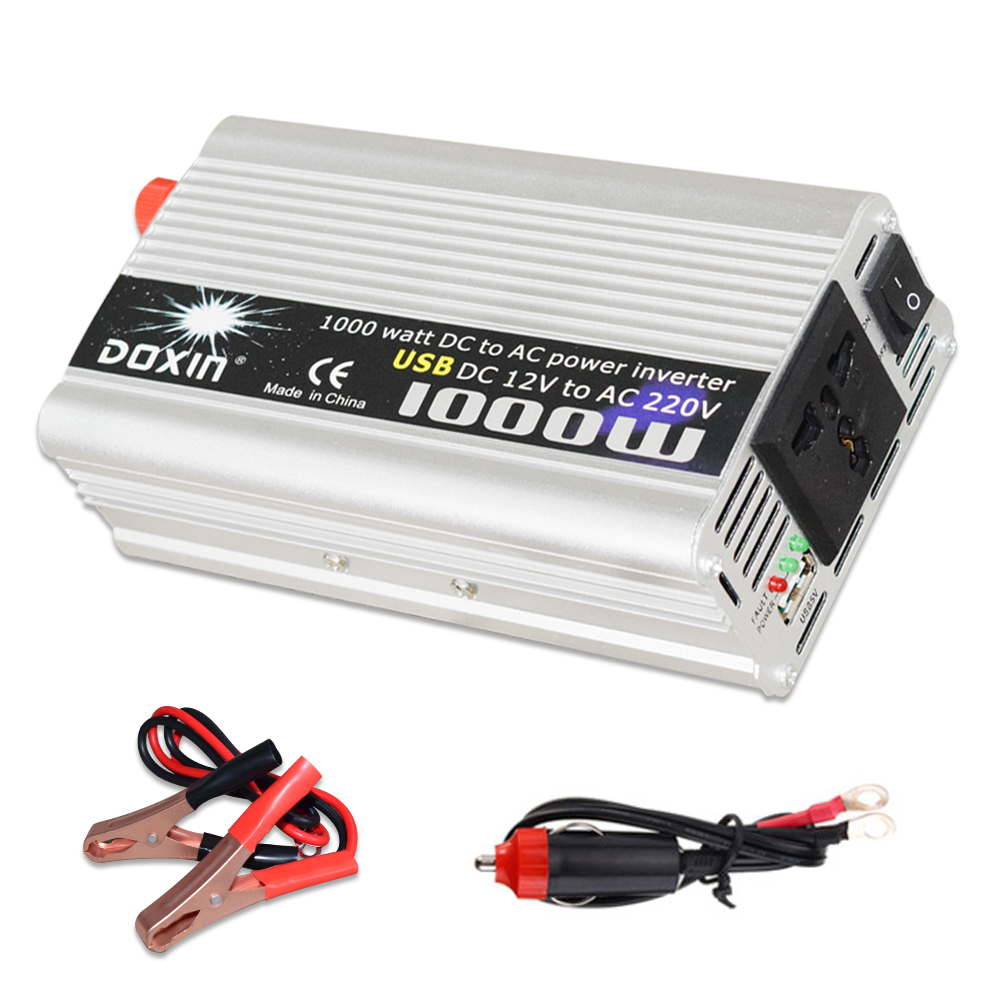 Inverter USB 1000W Watt DC <font><b>12V</b></font> <font><b>to</b></font> AC <font><b>220V</b></font> Portable <font><b>Car</b></font> Power Charger Converter <font><b>Adapter</b></font> DC 12 <font><b>to</b></font> AC 220 Modified Sine Wave 1000w image