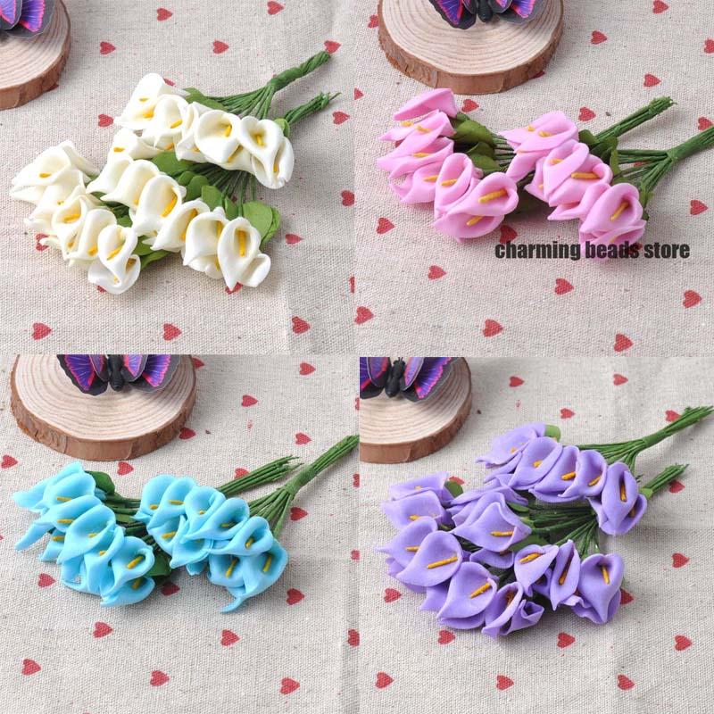144pcs 16x21mm Artificial PE Foam Mini Lily Flower Bouquet Wedding ...