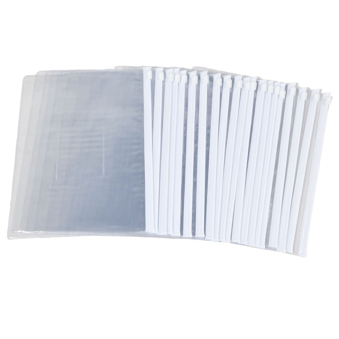 White Clear Size A5 Paper Slider Zip Closure Folders Files Bags 20 Pcs