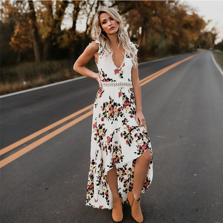 2019 Elegant flower print lace maxi dress vestidos Sexy deep V neck backless summer dress Women boho asymmetrical long dress in Dresses from Women 39 s Clothing