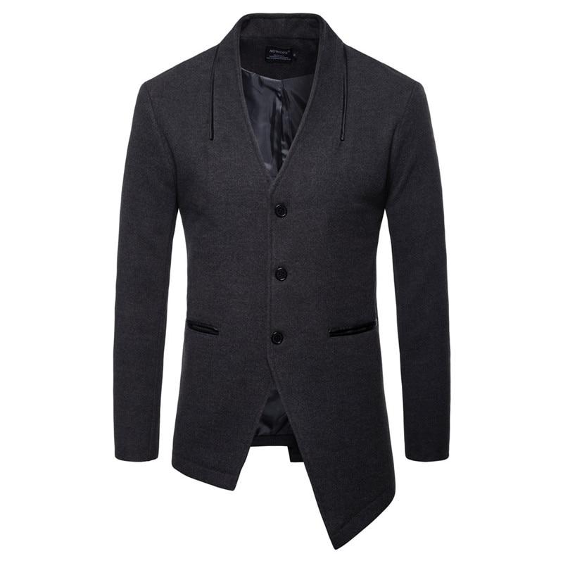 AOWOFS Mens Woolen Blazer V Neck Single Breasted Wool Coat Men Slit Hem Suit Jacket Irregular Blazer Men Overcoat Leather Pocket