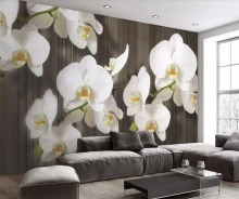 Custom large 3d stereo butterfly orchid flower wood grain modern minimalist TV wall decoration painting living room wall paper flower dance 3d acrylic wall stickers living room bedroom tv backdrop creative wall decoration hot sale
