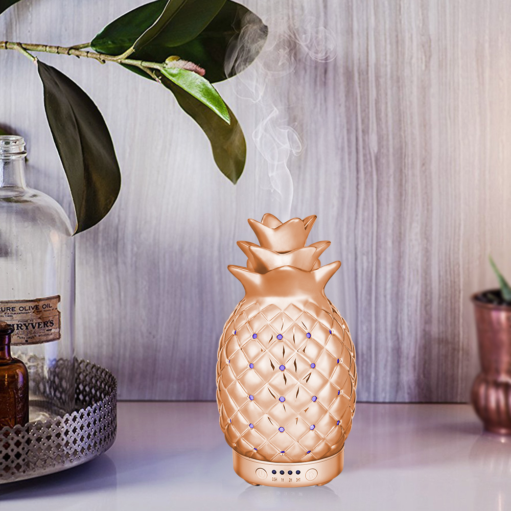 100ML Ceramics Pineapple Pattern Aroma Essential Oil Diffuser Electric Air Humidifier With Multi Colors Changing LED Lights