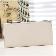 XIYUAN BRAND Ladies Designer Women mini Wallets Zipper long Women Leather Wallet Fold Wristlet Purse Holder Female Handbag white