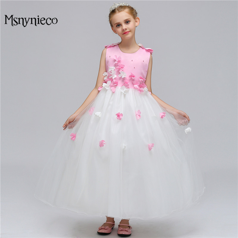 Fashion Flower Girls Dress Wedding Bridesmaid 2018 Summer Sleeveless Princess Party Kids Dresses for Girls Clothes Size 3-12Y summer princess wedding bridesmaid flower girl dress for child wear kids clothes white party tutu dresses for girl 3 12y