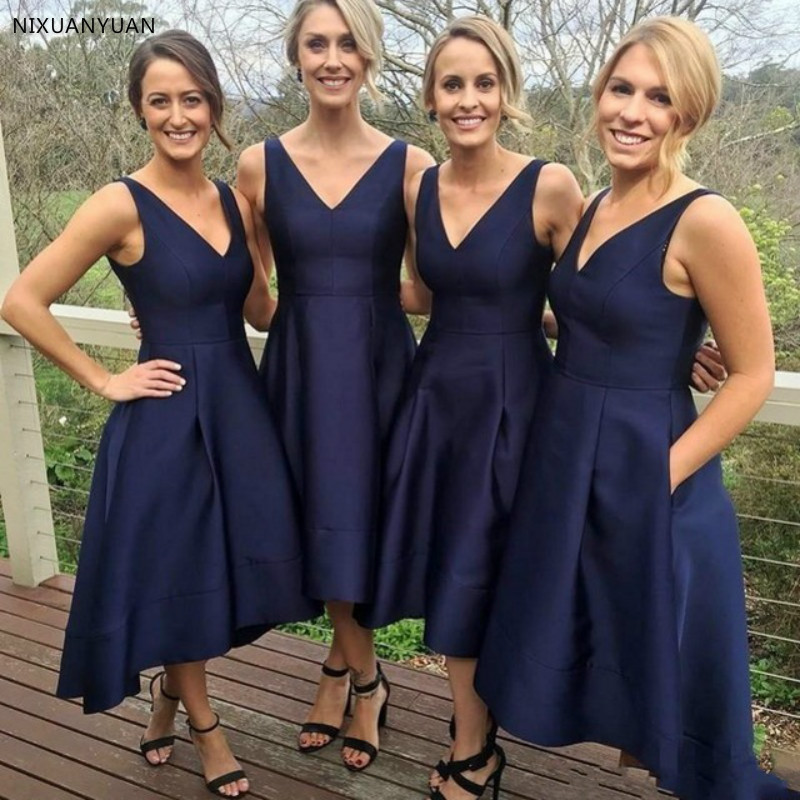 Navy Blue Formal   Prom     Dresses   2019 Robe Party   Dresses   with Pockets Robe De Soiree Abendkleider Woman   Prom   Gown