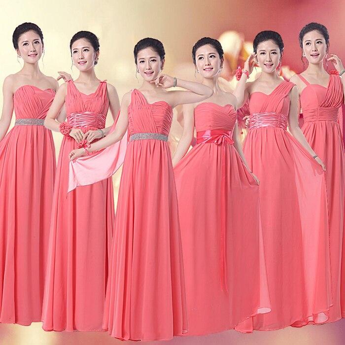 LC146M Coral Bridesmaid Dress Long Chiffon 6 Styles Custom Made ...