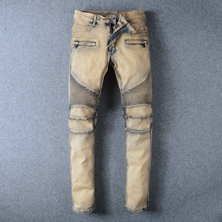 2017 New Arrival High Quality Trousers Men Jeans Khaki Colour Slim Fashion Brand Plus Size 40