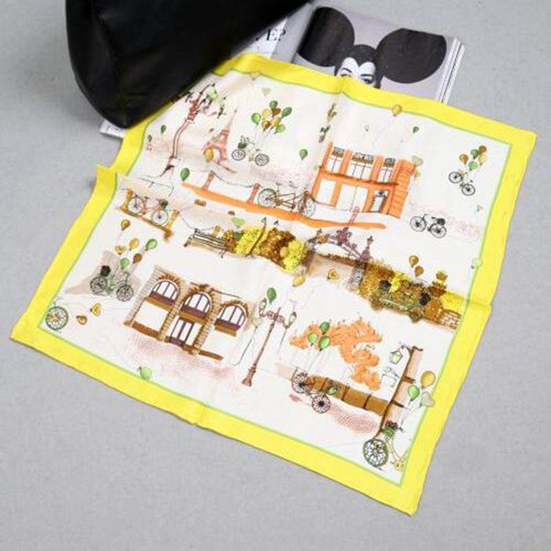 55x55cm Korean Fashion Print 100% Pure SilkScarf Women's Small Square Silk   Scarves     Wraps   Necktie Wristband Bag   Scarf