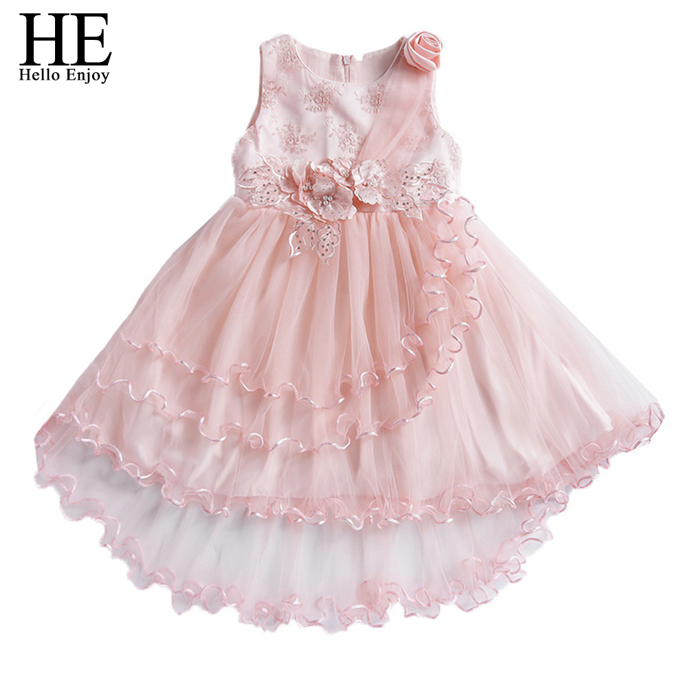 Girls Summer Clothing 2018 Cute Lace Flower Solid Dress Children Kids Dresses For Girls Wedding Clothes Robe Fille Enfant 4-10Y npk 55cm silicone vinyl baby reborn dolls adorable chucky handmade kids princess toys children bebe bjd doll reborn bonecas