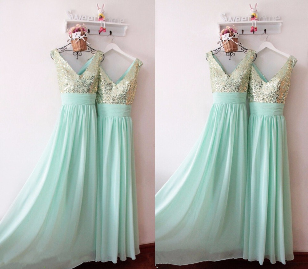 Elegant Champagne Sequins V Neck Long Chiffon Mint Green Bridesmaid ...
