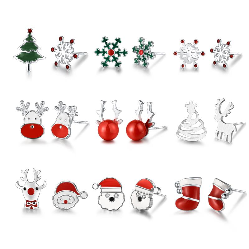 DALARAN Christmas 925 Sterling Silver Santa Claus Elk Christmas Tree Stud Earrings For Women Teens Girl Fine Jewelry Gift