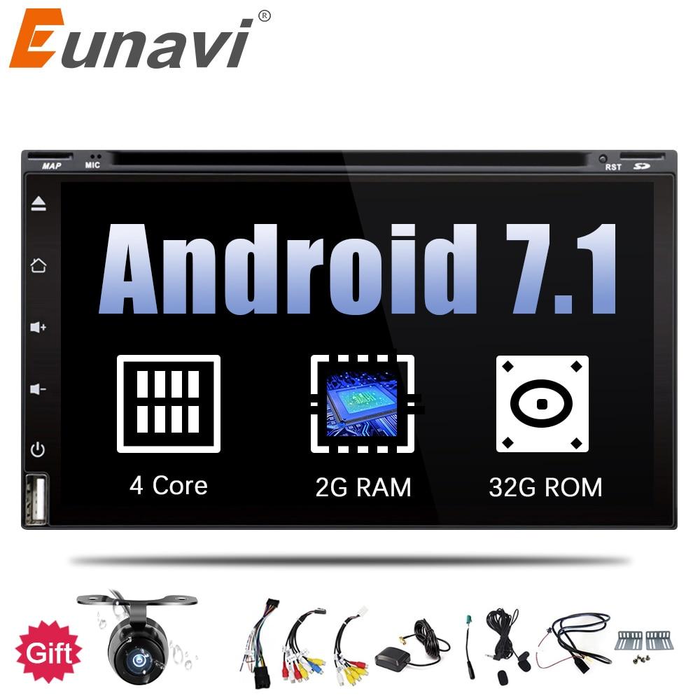 Eunavi 4 ядра 2 din android 7,1 dvd-плеер автомобиля Универсальный 2din gps навигации аудио стерео радио с WI-FI + bluetooth + камера