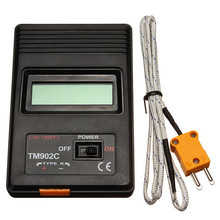 TM-902C Black K Type Digital LCD Temperature Detector Thermometer Industrial Thermodetector Meter + Thermocouple Probe New