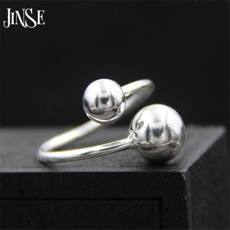 JINSE Fashion 925 Sterling Silver Jewelry Smooth Small Double Ball Beads Shape Rings for Women Charms Party Ring 1.50mm