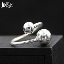 JINSE Fashion 925 Sterling Silver Jewelry Smooth Small Double Ball Beads Shape Rings for Women Charms Party Ring 1.50mm недорго, оригинальная цена